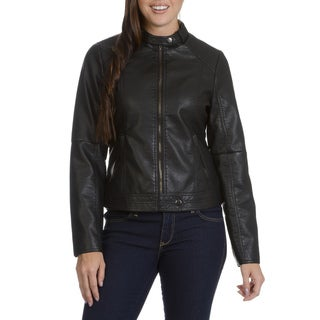 Ashley Women's Moto Faux Leather Racer Jacket