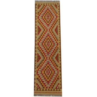 Herat Oriental Afghan Hand-woven Tribal Wool Kilim (1'10 x 6'9)