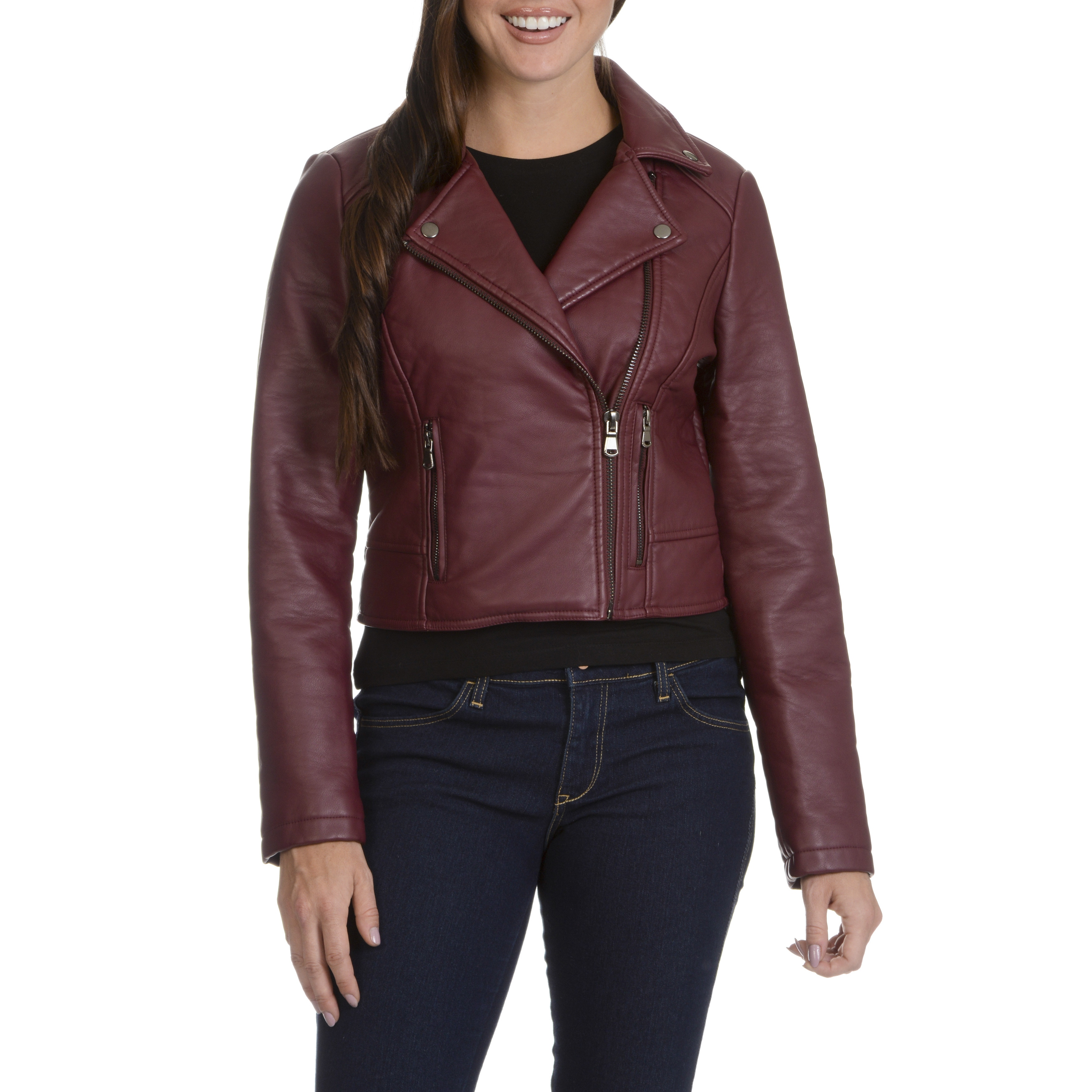 Ashley Women's Black/Red Faux Leather Motorcycle Jacket (...
