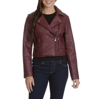 Ashley Women's Black/Red Faux Leather Motorcycle Jacket
