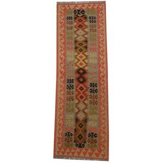 Herat Oriental Afghan Hand-woven Tribal Wool Kilim Runner (2'2 x 6'9)
