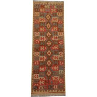 Herat Oriental Afghan Hand-woven Tribal Kilim (2'2 x 6'6)