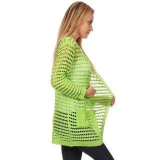 High Secret Women's Acrylic Crochet Open-front Cardigan