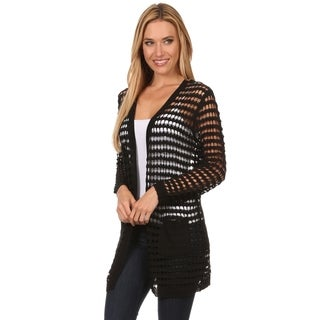 High Secret Women's Acrylic Crochet Open-front Cardigan
