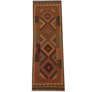 Herat Oriental Afghan Hand-woven Tribal Wool Kilim Runner - 2'2 x 6'8