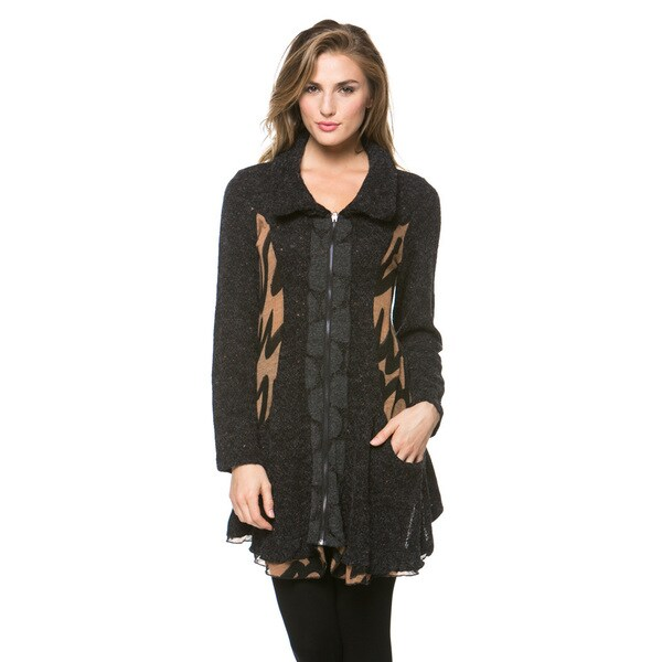 High Secret Women's Multi-fabric Zip-up Cardigan