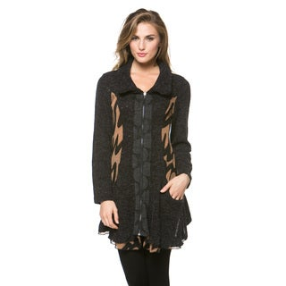 High Secret Women's Multi-fabric Zip-up Cardigan