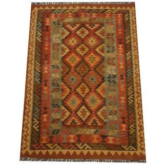 Herat Oriental Afghan Hand-woven Tribal Wool Kilim (4'9 x 6'9)