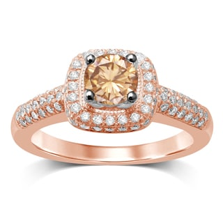Unending Love 14k Rose Gold 1.25-carat TW IJ I1-I2 Brown Center Engagement Ring