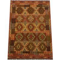 Handmade Herat Oriental Afghan Tribal Wool Kilim (Afghanistan) - 4'9 x 6'8