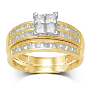 Unending Love 10k Two-tone Gold 1 1/4ct TDW Diamond Quad Head Bridal Set