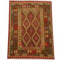 Handmade Herat Oriental Afghan Tribal Wool Kilim  - 4'9 x 6'5 (Afghanistan)