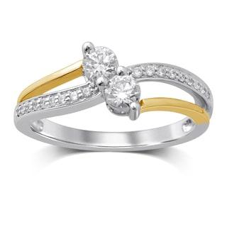 Unending Love 14k White/Yellow Gold Two-tone 1/2ct TW I-J I1-I2 Diamond 2-stone Fashion Ring