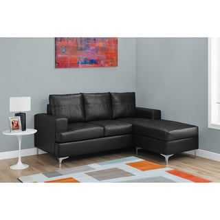 Black Bonded Leather Sectional Sofa Lounger
