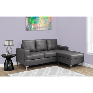 Sectional Sofa Lounger - Charcoal Grey Bonded Leather