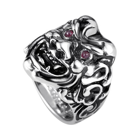 Stephen Webster Sterling Silver Ruby Japanese Warrior Mask Ring