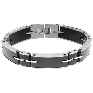 Stainless Steel Two-tone Carbon Fiber Men's Bracelet