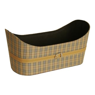 """Butterscotch Faux Leather and Tartan Plaid Tote Basket with Buckle, 6"""""""