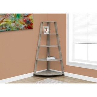 Dark Taupe Wood 60-inch Corner Accent Etagere Bookcase