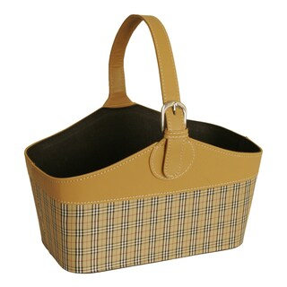 Butterscotch Faux Leather and Tartan Plaid Tote Basket with Handle, 12""