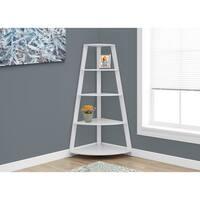 White 60-inch High Corner Accent Etagere Bookcase