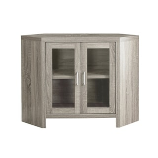Dark Taupe 42-inch Long Corner TV Stand with Glass Doors