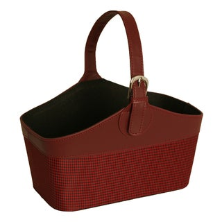 Faux Leather and Fabric Tote Basket with Burgundy and Black Houndstooth, 12""