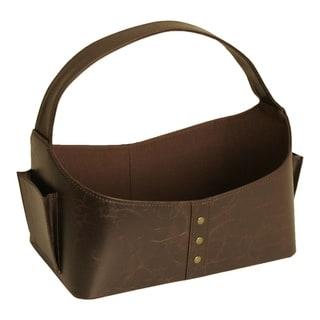 """Luxurious Faux Leather Tote with Brass Rivets and Handle, 12"""", Brown"""