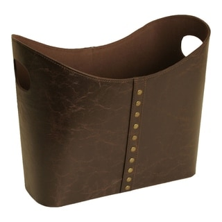 """Luxurious Faux Leather Tote with Brass Rivets, Brown, 12"""""""