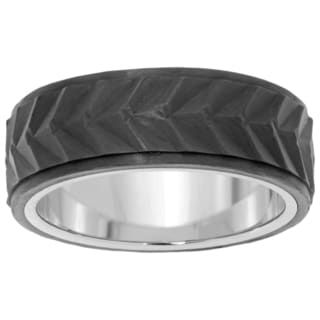 Stainless Steel Textured Carbon Fiber Ring