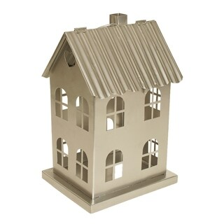 "Metal ""House with Windows"" Luminaria, Large, Silver"