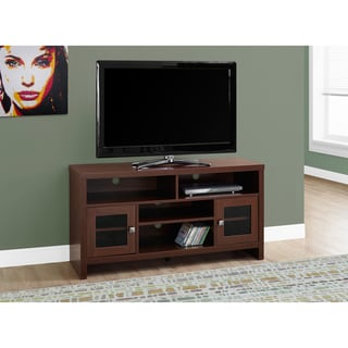 Glass, MDF and Metal 48-inch Long Warm Cherry TV Stand