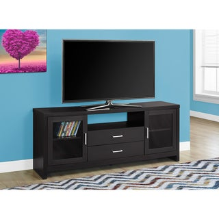 Cappuccino MDF 60-inch Storage TV Stand With Glass Doors