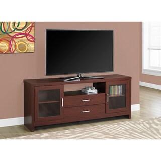 Warm Cherry Glass/MDF/Metal 60-inch Long Storage TV Stand