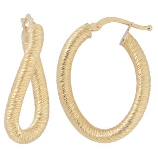 Fremada Italian 14k Yellow Gold Textured Finish Oval Hoop Earrings