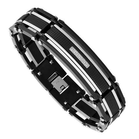 Men's Black Stainless Steel and Cubic Zirconia Bracelet