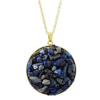 Luxiro Gold Finish Lapis Lazuli Semi-precious Gemstone Circle Pendant Necklace