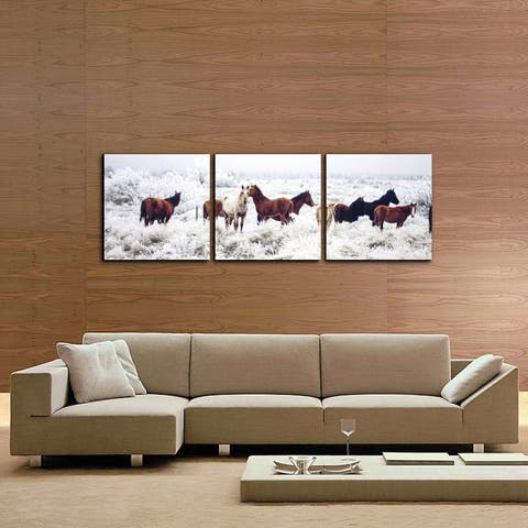 Furinno Senik Horses on Plains 3-panel Photography Triptych Print
