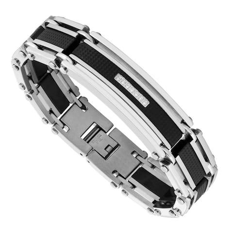 Men's Stainless Steel and Cubic Zirconia Link Bracelet - Black