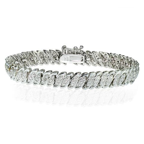 DB Designs Silvertone 1/10ct TW Diamond Marquise S Tennis Bracelet