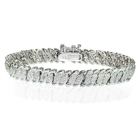DB Designs Silvertone 1/10ct TW Diamond Marquise S Tennis Bracelet