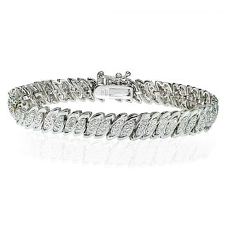 Link to DB Designs Silvertone 1/10ct TW Diamond Marquise S Tennis Bracelet Similar Items in As Is