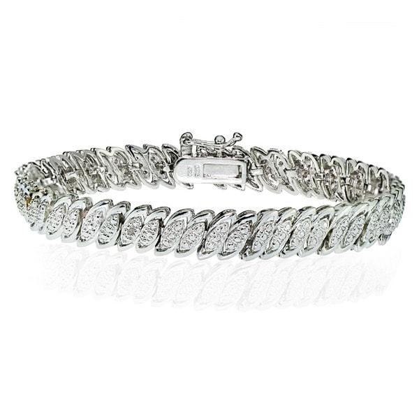 DB Designs Silvertone 1/10ct TW Diamond Marquise S Tennis Bracelet. Opens flyout.