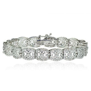 DB Designs Silvertone 1/4ct TW Diamond Filigree Tennis Bracelet