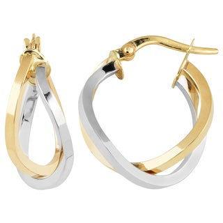 Fremada Italian 14k Two-Tone Gold High Polish Overlap Double Hoop Earrings