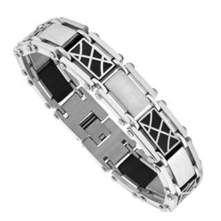 Men's Two-tone Stainless Steel and Black-plated Bracelet