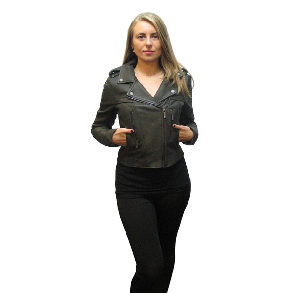Olive green jacket with black leather sleeves