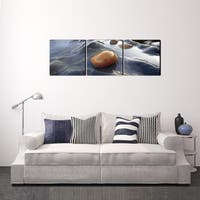 Furinno Senia River Stream Rock 3-Panel MDF Framed Photography Triptych Print, 48 x16 inches