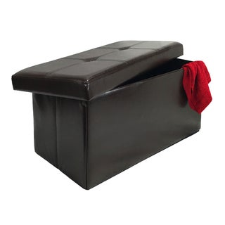 Brown 30-inch Collapsible Storage Bench