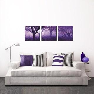 Furinno SeniA 'Purple Trees' 3-Panel MDF Framed Photography 48-inch x 16-inch Triptych Print